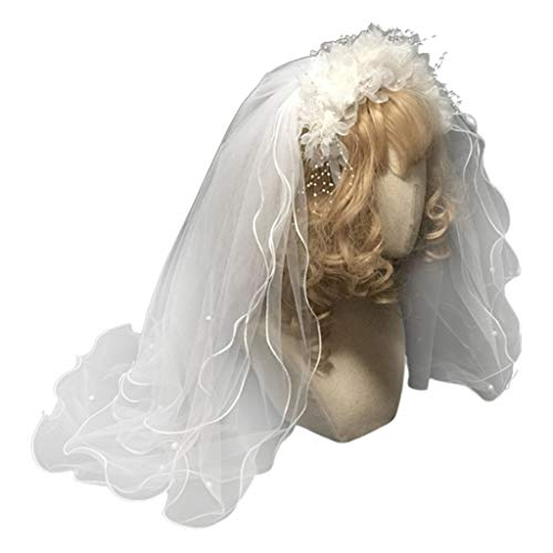 DAIMANPU Novia Velo de Novia de múltiples Capas Diadema Flor Blanca Perla Rebordear Aro de Pelo