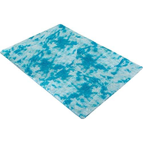 Alfombras Mullidas Ultra Suaves Alfombra Antideslizante de Poliéster Interior para Dormitorio Alfombra de Sala de Estar Junto A la Cama Alfombra Lavable para Piso ( Color : Azul , Talla : 70x160 cm )