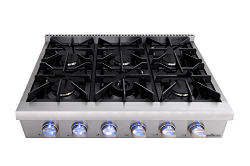 Thor Kitchen HRT3618+Grill Pro-Style 36'' Gas Rangetop with 6 Sealed Burners, Flat Grates, Cast-Iron Reversible Griddle, Stainless Steel HRT3618U