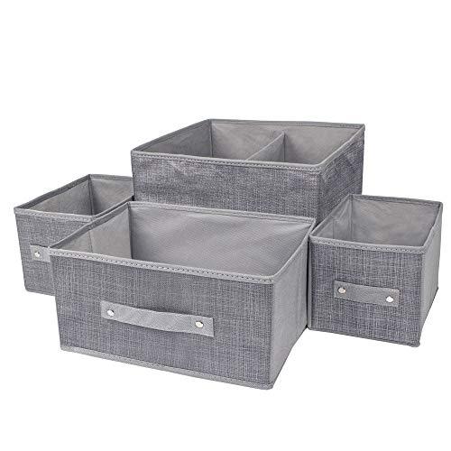 SPRINGOS 4 Aufbewahrungsboxen, Organizer für Socken, Krawatten, Unterwäsche, Kinderspielzeug, Ordnungssystem, Faltbare Schublade, Organizer zum Aufbewahren, Socken-Organizer, Stoffbox (Grau)