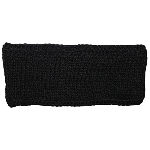 Freak Scene® Stirnband aus Wolle ° Handgestrickt ° Farbe: schwarz