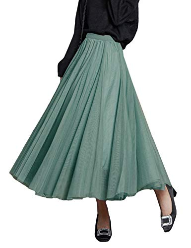 FEOYA Gonne Tulle Lunga Elegante Abiti Anni 50 Donna Vintage Blu