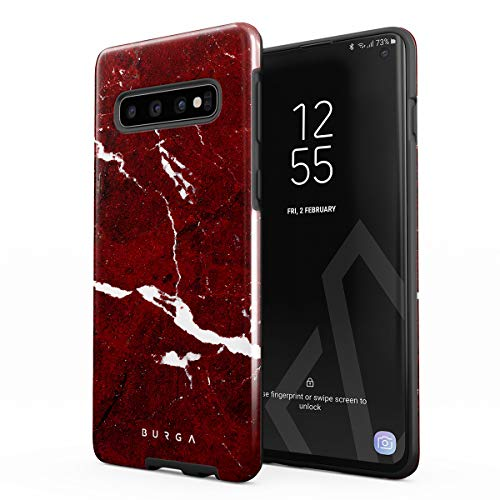BURGA Phone Case Compatible with Samsung Galaxy S10 Plus - Iconic Ruby Red Marble Cute Case for Women Heavy Duty Shockproof Dual Layer Hard Shell + Silicone Protective Cover