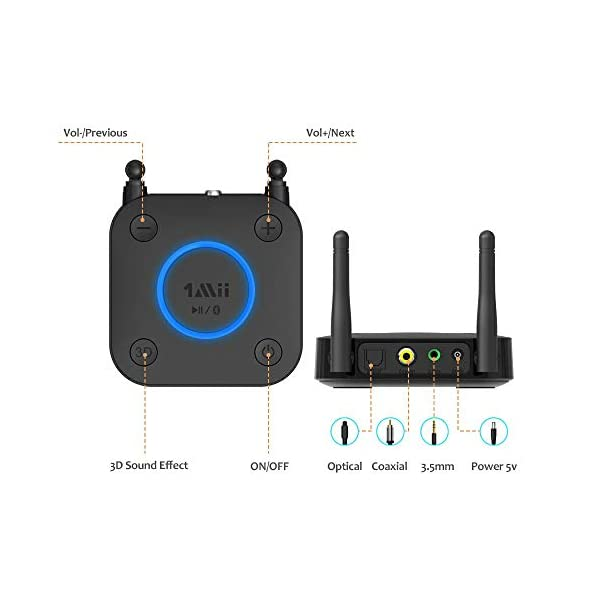 Long Range Bluetooth Receiver, HiFi Wireless Audio Adapter, Bluetooth 5.0 Receiver with 3D Surround aptX Low Latency Optical RCA AUX 3.5mm Coaxial for Home Stereo System 4