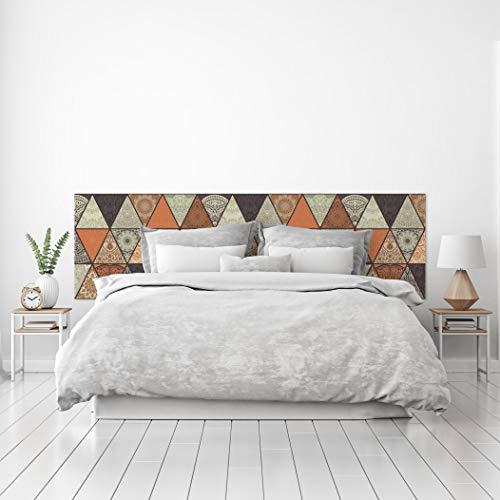 MEGADECOR Cabecero Cama PVC Decorativo Económico Diseño Geométrico de Triángulos Estampados Tonos Tierra Varias Medidas (200 cm x 60 cm)