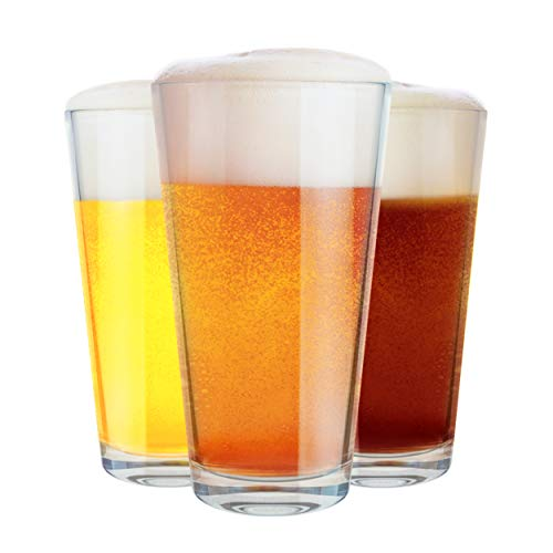 Clear Beer Pint Glasses Pub Drinking Glasses Best for Cocktails Water Juices and Other Beverages 16oz Set of 3 by Chef#039s Star