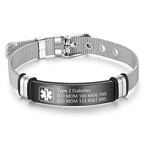Personalised Medic Alert Bracelet for Women - Stainless Steel Adjustable...