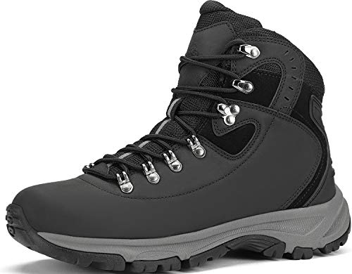 Hiking Boots Men Lightweight Trekking - High-Traction Grip Breathable Shoes Black
