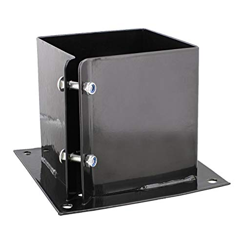 Mailbox Post Mount Kit Drive In No Digging Heavy Duty Galvanized Steel Black