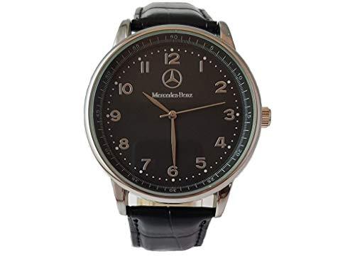 Mercedes Benz - Orologio rotondo sportivo, In quarzo, Con quadrante nero e cinturino nero, Ufficiale + Batteria di ricambio omaggio + Sacchetto regalo omaggio