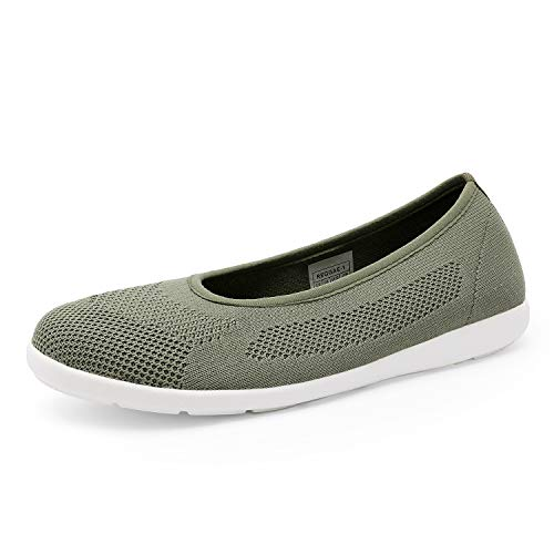 DREAM PAIRS Women's Slip On Flat Army Green Walking Shoes Comfortable Lightweight Breathable Mesh Knit Walking Shoes for Women Size 8 M US Reggae-1