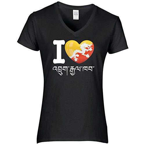 FanShirts4u Damen T-Shirt - I Love Bhutan - WM Trikot Liebe Herz Heart (S, Bhutan - Dzongkha/schwarz)