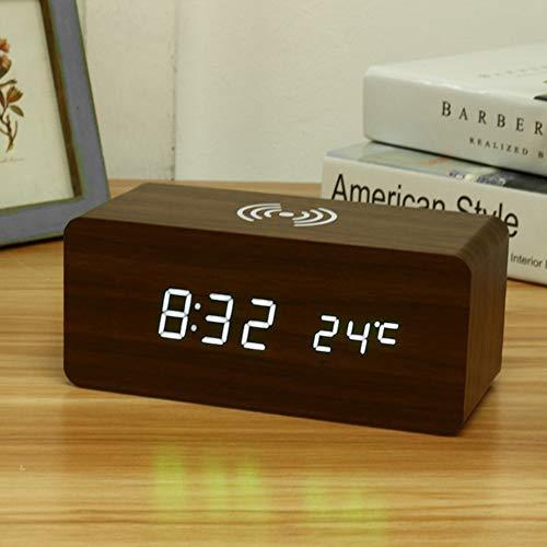 Holz-Wecker mit Qi Wireless-Charging Kompatibel mit iPhone Pad Holz LED Digital Clock Sound Control-Funktion, USB Zeit Datum Temperaturanzeige für Schlafzimmer Office,A