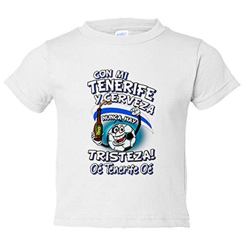 Camiseta niño frase con mi Tenerife y cerveza nunca hay tristeza fútbol - Blanco, 5-6 años