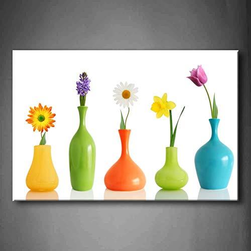 EBONP Leinwand Gemälde Leinwanddruck 1 Stück Kein Rahmen Wandkunst Bild Frühlingsblumen Vasen Leinwanddruck Kunstwerk Modernes Blumenplakat für Wohnzimmer-20x28inch