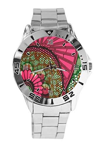 Reloj de pulsera con diseño de puntos de flores africanas de cuarzo esfera plateada clásica de acero inoxidable banda de reloj de mujer