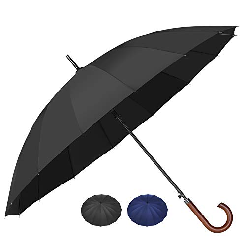 [16本骨 晴雨兼用 傘]梅雨対策 SHIO MOKU 長傘 メンズ ワンタッチ 大きめ 丈夫 撥水 耐強風 グラスファイバー 通学 通勤 収納ポーチ付き (ブラック)