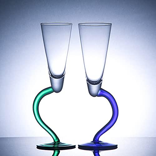 Estante de vino 2 piezas doblando vidrio de champgane pigmentado diseño irregular vidrio cóctel cáliz jerez copa vino fiesta