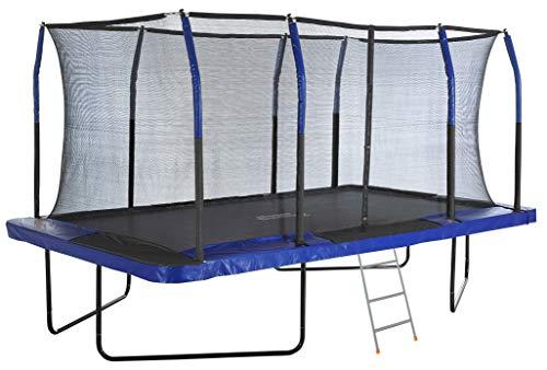 Mega Outdoor Trampoline with Fiber Flex Enclosure System, 8' X 14' | Big Trampoline for Kids | Rectangular Adult Trampoline | Safe & Fun Great Exercise Trampoline | Bonus 3-Step Ladder
