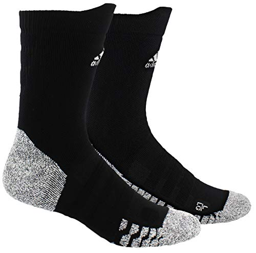 adidas Unisex-US Alphaskin Traxion Lightweight Cushioned Crew Socks (1-Pair), Black/White, 9.5-12
