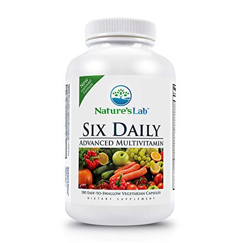 Nature's Lab Six Daily Advanced Multivitamin - 180 Capsules (30 Day Supply) 90 Essential Nutrients, Minerals, Antioxidants, Fermented Whole Foods and Herbs. Promotes Anti Aging, Healthy Energy Product