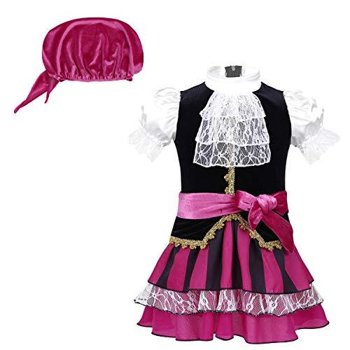 Agoky Disfraz de Pirata para Bebé Niña Cosplay Vestido Princesa + Cinturón +Barbijo Fancy Dress Disfraces para Halloween Fiesta Traje de Actuación