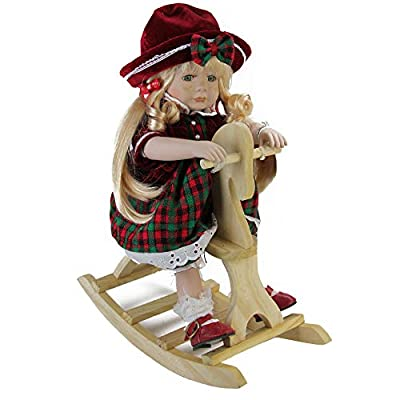 """Northlight 17.5"""" Porcelain Jamie on Wooden Rocking Horse Collectible Christmas Doll"""