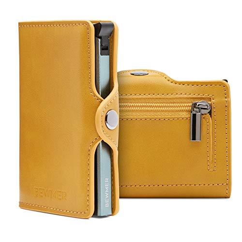 BEWMER Billetera para Tarjetas de crédito Delgada con protección de Cerradura RFID Porta Tarjetas rígido anticontracción y Monedero con Sistema de Bloqueo de Tarjetas anticaída (Amarillo Monedero)