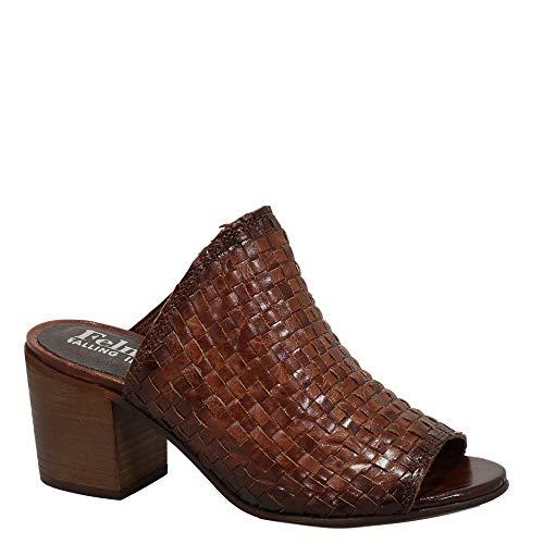 Felmini - Zapatos para Mujer - Enamorarse com Arlene B777 - Zuecos con Tacones - Cuero Genuino - Marrón - 39 EU Size