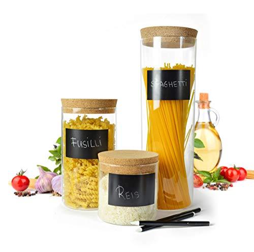 Sendez 3 Vorratsdosen mit Korkdeckel Kreide und Aufkleber Glasbehälter Vorratsgläser 2,1 Liter + 1,2 Liter + 0,6 Liter