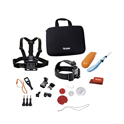 Rollei Actioncam Mount Set Water Sports - Kit d'accessoires de sports nautiques - Pour caméras d'action Rollei et GoPro - 22 pièces