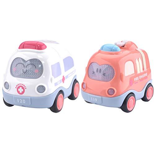 LUOEM Juego de 2 Piezas de Juguete de Coche Retráctil Ambulancia Camión de Bomberos Camión de Tracción Y Juguetes de Coche para Grils Niños Favores de Fiesta Infantil (Ambulancia + Camión de B