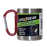 Life Gear Taza de acero inoxidable de doble pared con asa de mosquetón, portátil, escalada en roca, senderismo, mochilero o camping, taza de viaje de 10 oz