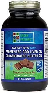 Blue ICE Royal Butter Oil/Fermented Cod Liver Oil Blend (Gel 240 ml) (Chocolate Cream)