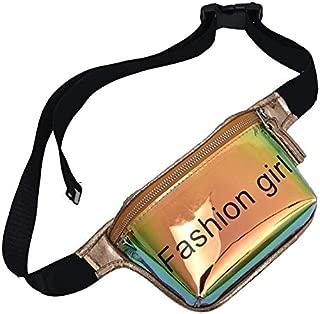Letter Print Laser PVC Waist Bags Women PVC Fanny Shoulder Belt Packs Fashion Female Pouch Purse Wallet Chest Belt Bags (Color : Gold)