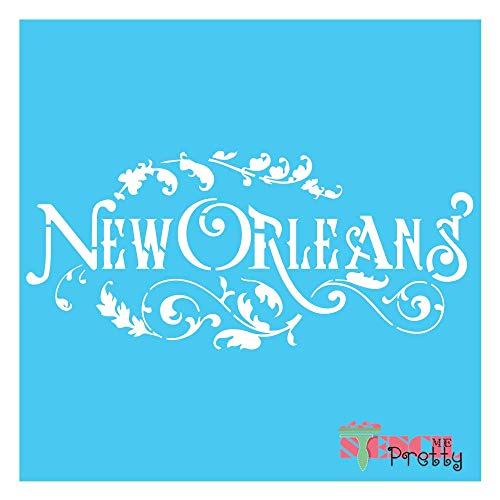 Stencil - New Orleans Stencil DIY French Vintage Furniture DIY Chic Fabric Deco Best Vinyl Large Stencils for Painting on Wood, Canvas, Wall, etc.-Multipack (S, M, L)| Brilliant Blue Color Material