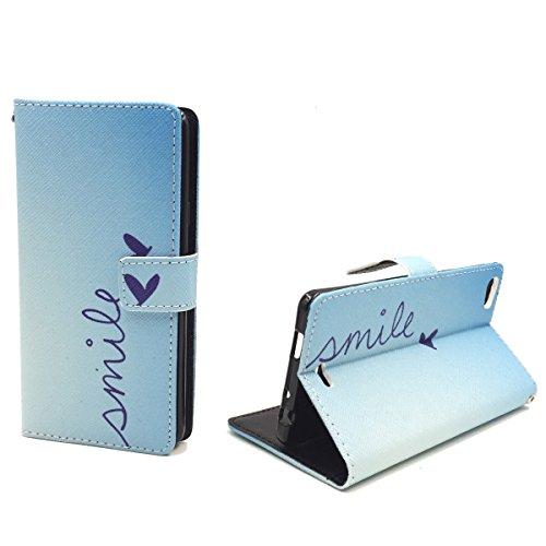 König Design Handyhülle Kompatibel mit Wiko Highway Pure Handytasche Schutzhülle Tasche Flip Hülle mit Kreditkartenfächern - Smile Blau