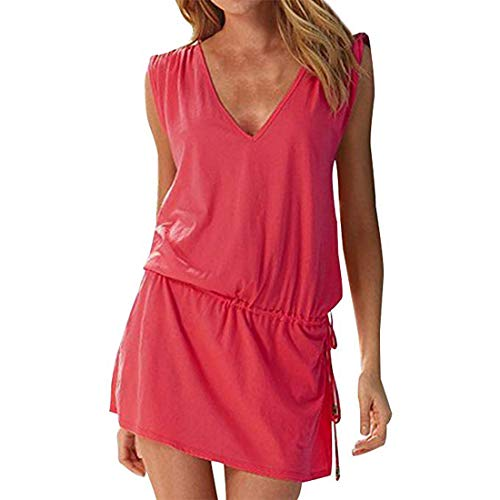 Moceal - Vestido sin mangas para mujer, de verano, sexy, para la playa, informal, tallas grandes, para cócteles, ceremonias, fiestas rojo S-XL