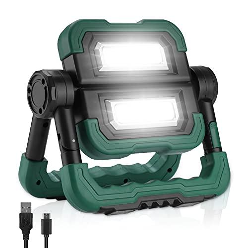 BONADE LED Akku Baustrahler, Faltbares LED Scheinwerfer mit 360°Drehung, 3 Lichtmodus, 5000mAh Tragbare Akku Strahler Geeignet für Camping, Abenteuer, Nachtarbeit, Autowartung
