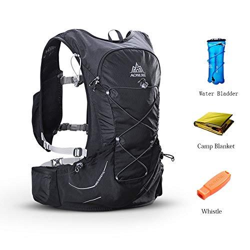 PQXOER Sac à Dos de Vélo Sac à Dos d'hydratation résistant à l'eau avec Une vessie d'eau/Une Couverture de Camp/Un sifflet Parfaits, sans BPA Sac de Randonnée (Color : Black, Size : 52 * 30cm)