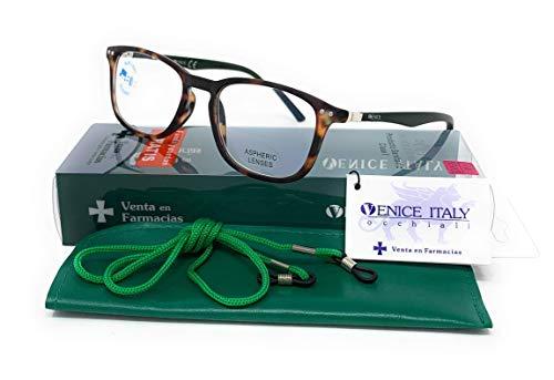 Gafas de lectura y sin graduación, con filtro bloqueo de luz azul para gaming, ordenador, móvil. Anti fatiga professional unisex venice (Demi con Blue blocking, 2.50)
