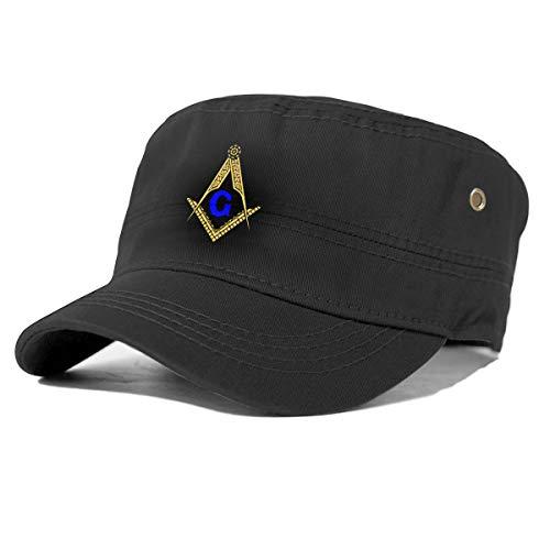 Freemason Masonic Cotton Newsboy Military Flat Top Cap, Unisex Adjustable Army Washed Cadet Cap Black