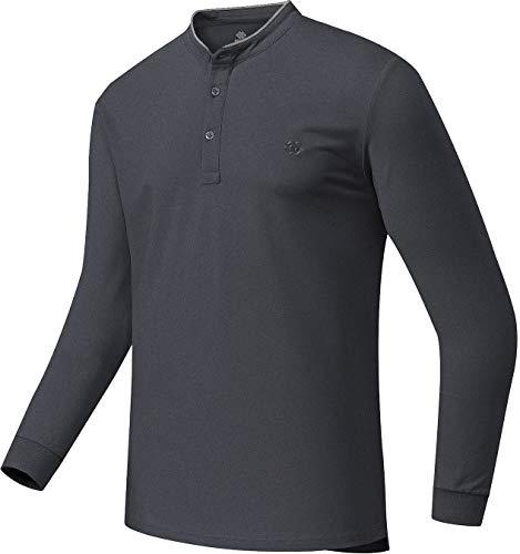 Golf Shirts for Men Dry Fit Collarless Athletic Polos Shirts Man Tennis Golf Tops Dark Grey Heather