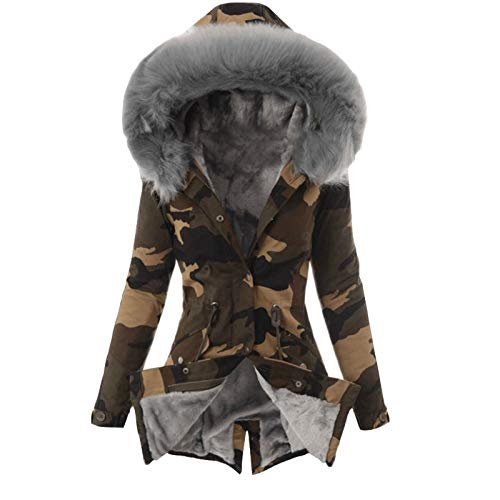 MRULIC Kapuzenjacke Damen Outwear Langarm Warm Bequem Kapuzenpullover Herbst Winter Mantel Jacke Tops Hoodie Sportswear Kapuz Trenchcoat Wollmantel(Grau,M)