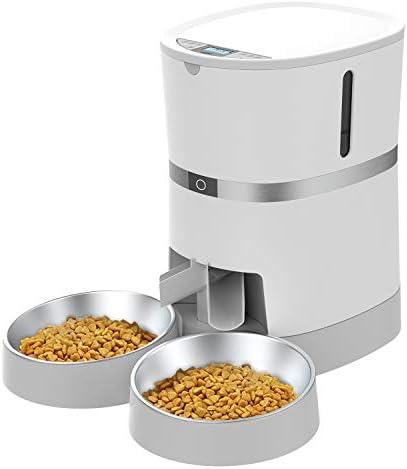 WellToBe Comederos automáticos para Perros y Gatos, con Doble tazón, hasta 6 Comidas con Control de porciones, grabadora de Voz