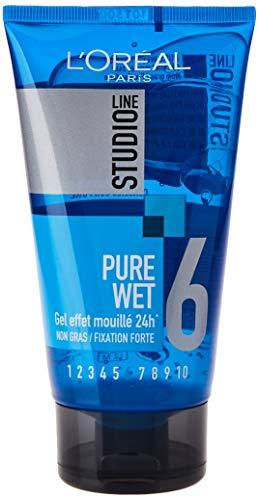 L Oréal París Estudio línea pura mojada Efecto Styling Gel Forte 24H Fijación, 150 ml