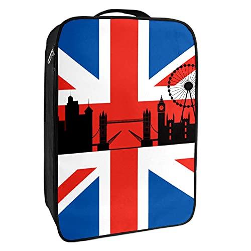 Scatola portaoggetti per scarpe da viaggio e uso quotidiano bandiera britannica con London Cityscape Scarpiera organizer portatile impermeabile fino a 12 metri con doppia cerniera 4 tasche