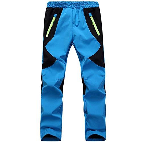 SEEU Pantaloni in softshell per bambini, morbidi, comodi, impermeabili, antivento, per attività all'aperto, azzurro, 2XL