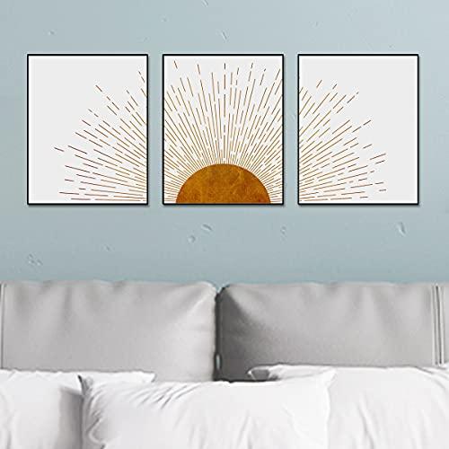 Sun Ray Art Prints Boho Bedroom Wall Decor Minimalist Decor Sun Prints Mid Century Modern Decor Living Room Prints Set of 3 Prints UNFRAMED 11X14INCH