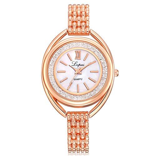 Powzz - Reloj de pulsera para mujer, diseño de corazón coreano, informal, esfera de cuarzo, esfera de diamante, correa de aleación, reloj para estudiantes, reloj de oro rosa